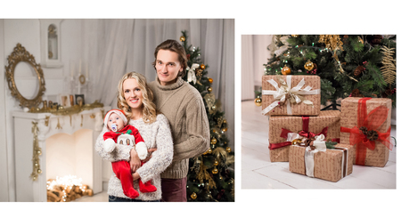 fireplace family: christmas family in a christmas decorated room with a christmas tree and a fireplace Stock Photo