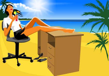 foto van de secretaresse op een strand