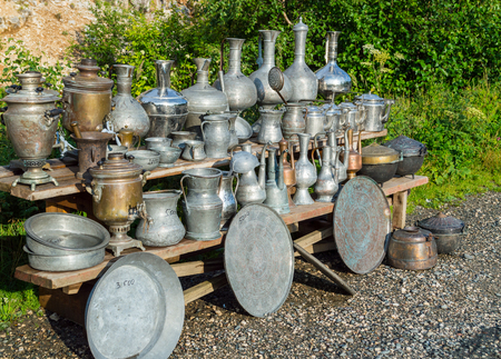 A lot of old vintage metallic arabian and russian vessels, tray, pods and samovar.