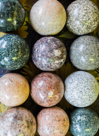 Stone balls with different colors, material and texture.