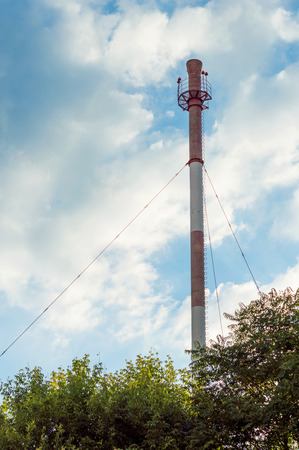 boiler house: Boiler house chimney. Industrial zone of the city. Stock Photo