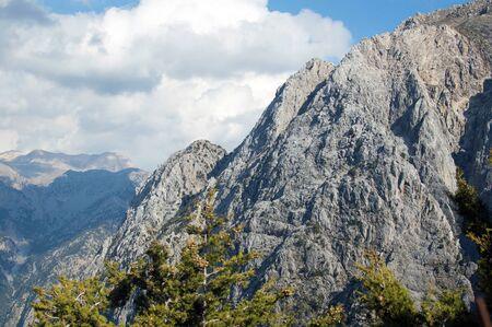 Faraggi Samarias canyon and mountains on Creete island in Greece Stock Photo