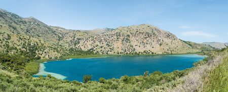 kournas: Panoramic view. Color water of lake Kournas at Crete island in Greece.