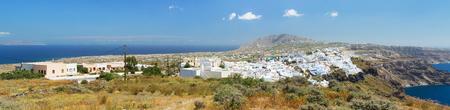 Fira is the capital of Santorini island, Greece. Panoramic view on island Stock Photo