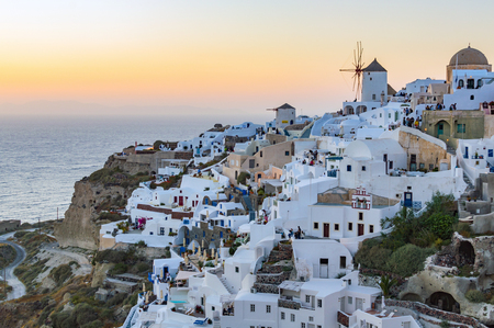 Sunset at Oia town at evening, Santorini Greece