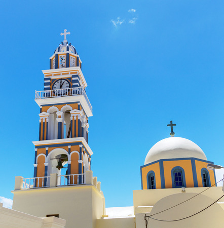 Clock Tower in the village of Thira, Santorini, in the Greek Islands Stock Photo