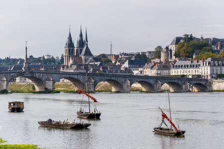 Bridge Jacques Gabriel in Blois. Chateau of the Loire Valley. France. Stock Photo