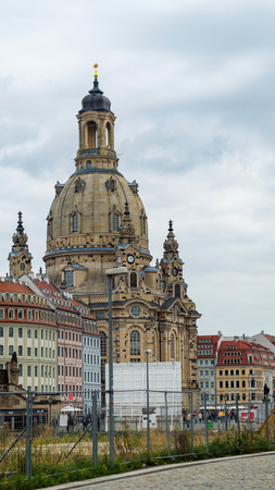 dresden: Church Frauenkirche in Dresden Germany on a nasty day with cloudy sky