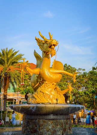 Hai Leng Ong Statue Golden Sea Dragon at Queen Sirikit Park on February 03, 2017 in Phuket Town - Thailand.