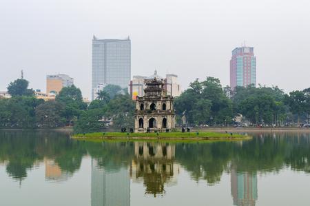 Hoan Kiem lake, Sword lake, Ho Guom in Hanoi, Vietnam