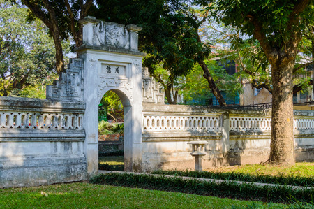 Park in the Temple of Literature Van Mieu in Hanoi, Vietnam and chinese pagoda. Stock Photo