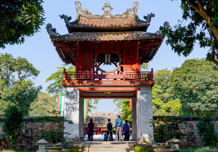 The Temple of Literature Van Mieu in Hanoi, Vietnam and chinese pagoda. 스톡 콘텐츠