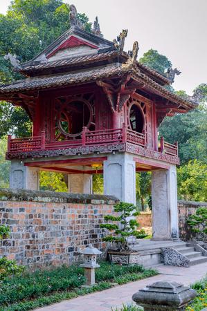 The Temple of Literature Van Mieu in Hanoi, Vietnam and chinese pagoda. Stock Photo