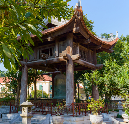 Temple big bell in chinese pagoda in Hanoi, Vietnam