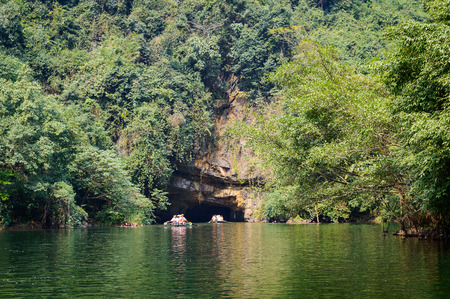 Trang An, Tam Coc, Ninh Binh, Vietnam. Its is object renowned for its boat cave tours by the river.