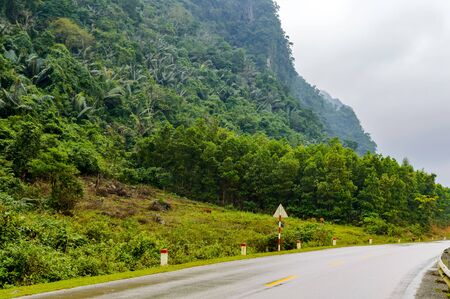 Highway in the jungle. Grey asphalt road and green roadside. Travelling in tropical island. Empty road in exotic nature. Green palm trees and blooming tropical nature. Motorbike or car summer trip Stock Photo