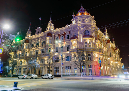 Rostov-on-Don, Russia, January 24, 2018: The building of the Rostov-on-Don City Duma. Night view of illumination. Editorial