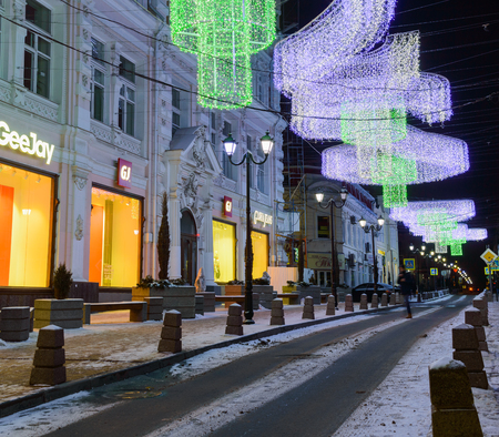 Rostov on Don, Russia, January 24, 2018: Night view on lighting decoration of Semashko street. One of the most conspicuous architectural feature of the city, where will be a championship of soccer in 2018 year.