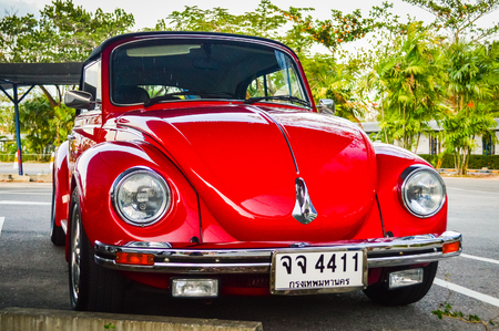 Thailand, Phuket, February 05, 2013: Volkswagen Beetle retro car on parking lot