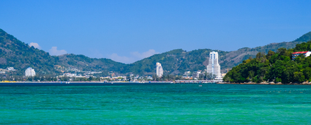 View from sea on Patong beach, Phuket. Thailand