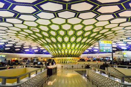 ABU DHABI, UAE - 27 DEC 2016- Inside the terminal at Abu Dhabi International Airport (AUH). It is the main hub for Etihad Airways (EY).