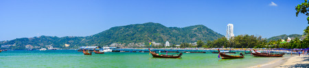 Panoramic View from sea on Patong beach, Phuket. Thailand
