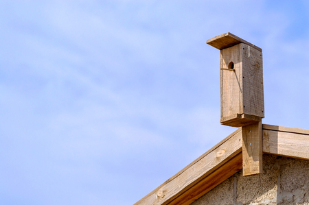 Wooden nesting box. The concept of a generic nest Stock Photo