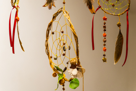 Native American Dreamcatcher with feathers and tapes