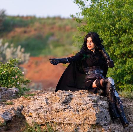 Russland, Merzhanovo, 21. Mai 2018: Shooting Session von Fantasy Cosplay schönes Mädchen in der Natur. Editorial