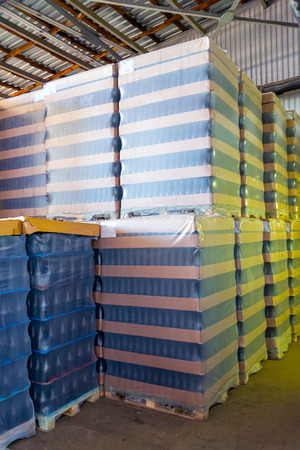 Many wine bottles packed for wholesale at winery. Archivio Fotografico