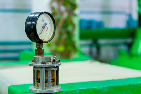 Manometer or pressure gauge at industrial factory. 스톡 콘텐츠