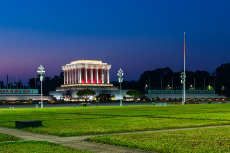 Vietnam, Hanoi, December , 2016: Ho Chi Min mausoleum, night view. Editorial