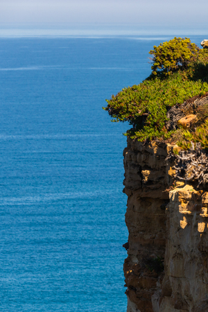 Scenic seascape view with cliffs and nature at the coast of sea or ocean.