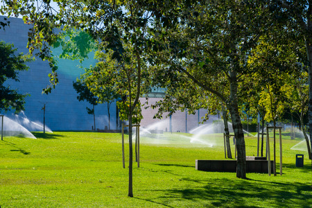 Automatic sprinkler watering in the garden or city park.