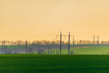 High voltage towers with sky background. Rural landscape Zdjęcie Seryjne