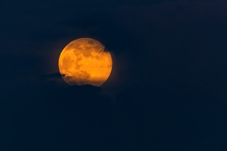 Bright Yellow Full Moon in clouds. Nature skyscape
