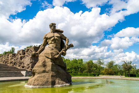 VOLGOGRAD, RUSSIA - 26 MAY 2019: Stand to Death monument on Mamayev Kurgan.