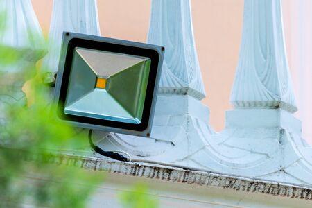 LED flood light, spotlight on wall. Safety concept Banco de Imagens