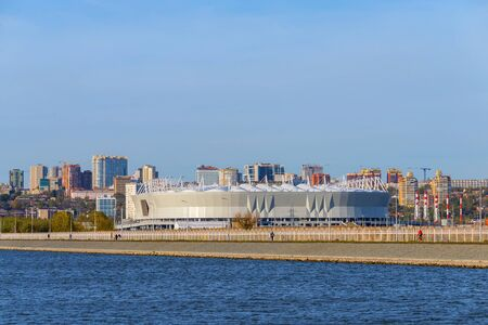 Russia, Rostov-on-Don - August 20, 2017: Football stadium Rostov Arena. The stadium for the 2018 FIFA World Cup. View from rowing canal. Zdjęcie Seryjne