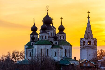 Historical Church, resurrection Cathedral in Starocherkassk. Sunset sky above the Church. Beautiful domes 1706-1719.