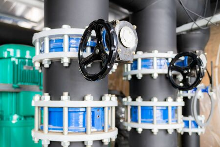 Butterfly valve at the connection hdpe pipe and pp-r pipe. Manual valve, selective focus