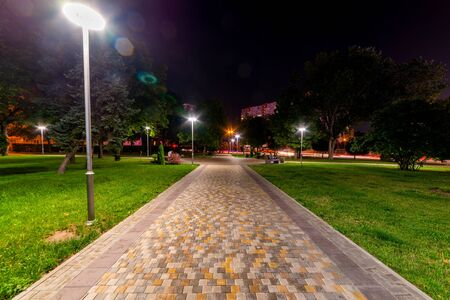 Beautiful city park walkway with lamps at night.