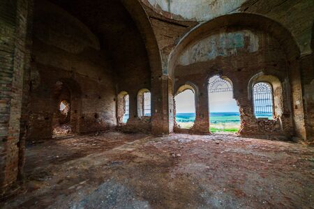 Old orthodox church ruins. Abandoned religionic building.