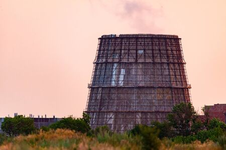 Cooling tower of thermal power plant. Power supply industry.