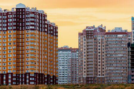 Modern condominium building or apartment house in big city.
