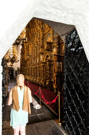 Woman Standing in orthodox Church Religion Concept.