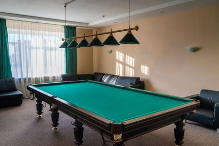Interior of the billiard room with table. Stok Fotoğraf