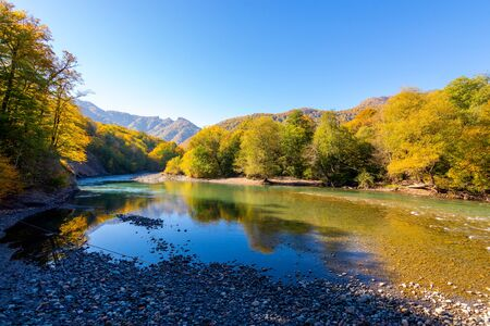 Fall landscape with mountain river and forest. Russia, Caucasus, Adygea Foto de archivo