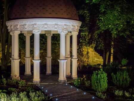 Rotunda in city park. Night scene scenic view.