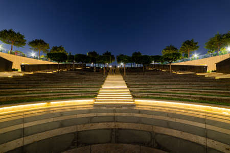 Modern amphitheater like as ancient theater at night Standard-Bild
